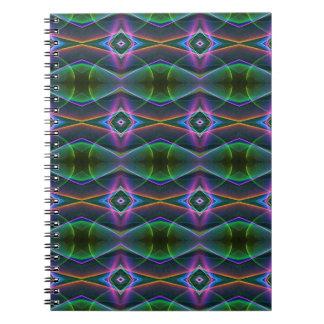 人気があるなラベンダーの緑のネオンパターン ノートブック