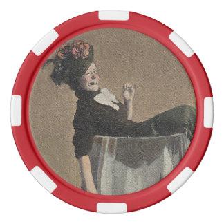 人気があるなヴィンテージのパーティガールのワイングラスのポーカー用のチップ カジノチップ