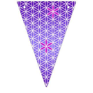 人生のスタンプの継ぎ目が無いパターン-バイオレットの花 バンティングフラッグ