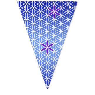 人生のスタンプの継ぎ目が無いパターン-青の花 バンティングフラッグ