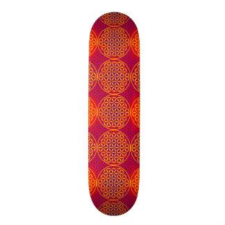人生のスタンプパターン-オレンジピンクの花 スケートボード