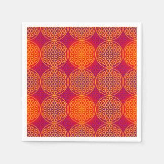 人生のスタンプパターン-オレンジピンクの花 スタンダードカクテルナプキン