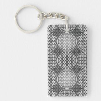 人生のスタンプパターン-灰色の花 キーホルダー