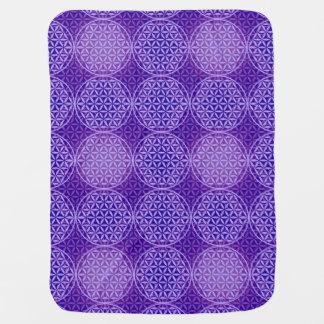 人生のスタンプパターン-紫色の花 ベビー ブランケット