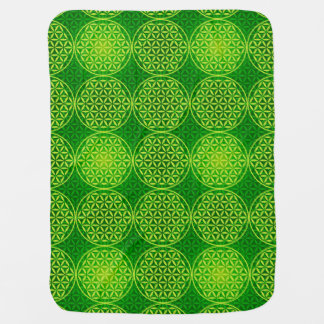 人生のスタンプパターン-緑の花 ベビー ブランケット