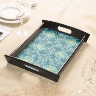 人生のスタンプパターン-青緑色の青の花 トレー