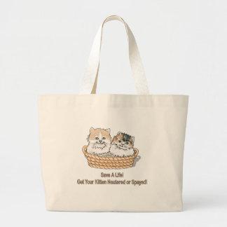 人生の子ネコを救って下さい ラージトートバッグ