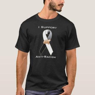 人種差別反対主義の黒くか白いリボンの認識度 Tシャツ