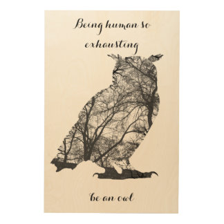 人間のそう排出であるフクロウのsilhuetteはフクロウです ウッドウォールアート