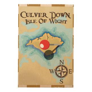 人間のイギリス旅行ポスターのCulverの島 ウッドウォールアート