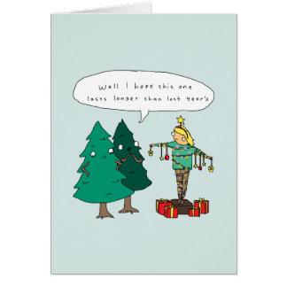 人間のクリスマスツリー|のおもしろいな喜劇的なクリスマスカード カード