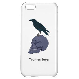 人間のスカルに立っているワタリガラスかカラス iPhone 5C CASE