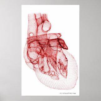 人間のハートのデジタルwireframe ポスター