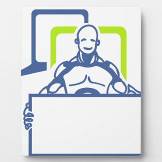 人間の特徴をもつロボット保有物のブランクの印 フォトプラーク
