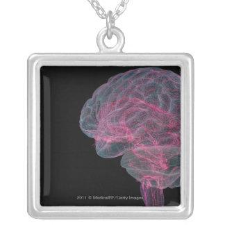 人間の脳の背面図 シルバープレートネックレス