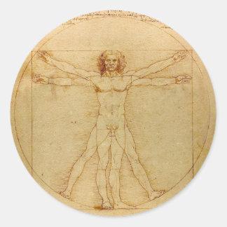 人間の解剖学、レオナルド・ダ・ヴィンチ著Vitruvianの人 ラウンドシール