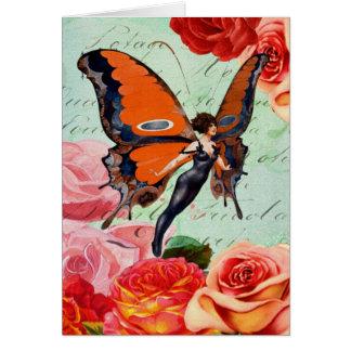 人間動物のバラを持つ雑種の蝶女性 カード