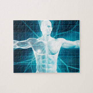 人間工学または生物学の技術バイオテクノロジー ジグソーパズル