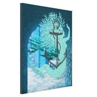 人魚およびいかりのキャンバスの芸術 キャンバスプリント