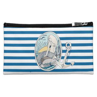 人魚およびいかり青および白のストライプのバッグ コスメティックバッグ