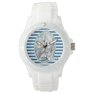 人魚およびいかり青および白のストライプの腕時計 ウオッチ