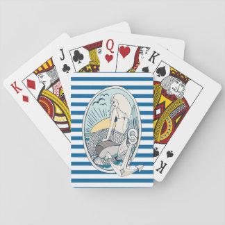 人魚およびいかり青および白ストライプなカード トランプ