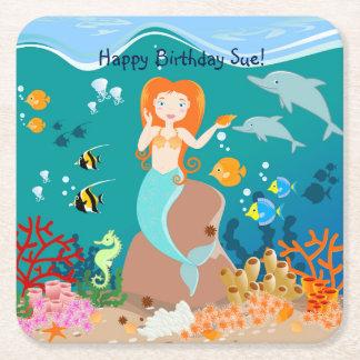 人魚およびイルカの誕生会 スクエアペーパーコースター