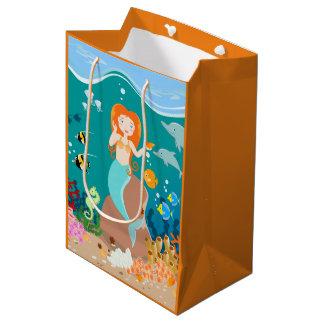 人魚およびイルカの誕生会 ミディアムペーパーバッグ