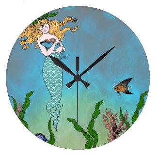 人魚およびシール ラージ壁時計