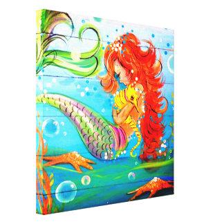 人魚およびタツノオトシゴのキャンバスのプリント キャンバスプリント