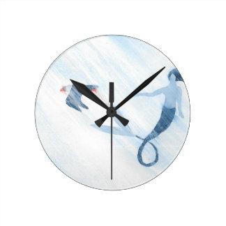 人魚およびツノメドリ ラウンド壁時計