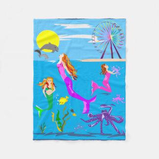 人魚および海毛布 フリースブランケット