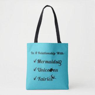 人魚との人間関係では、ユニコーン、妖精 トートバッグ