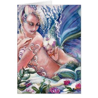 人魚のお母さん及びベビーの空白のなカード グリーティングカード
