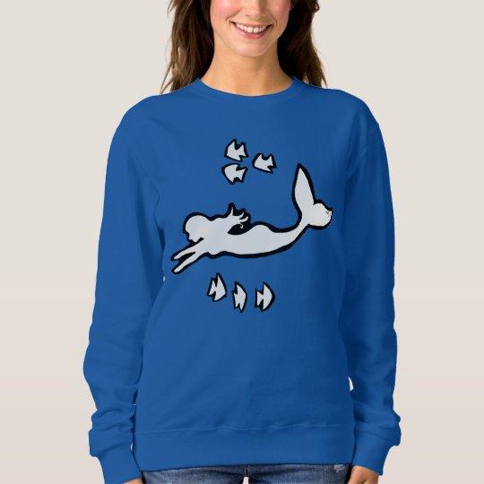 人魚のシルエットの女性のスエットシャツ スウェットシャツ