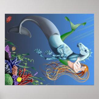 人魚のタツノオトシゴのファンタジーのイラストレーションポスター ポスター