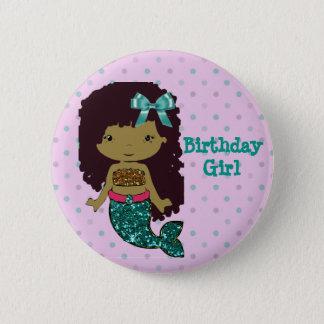 """人魚のテーマの""""誕生日の女の子""""ボタン 5.7CM 丸型バッジ"""