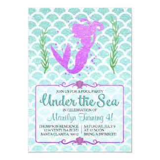 人魚のプールを囲んでのパーティの誕生日の招待状 カード