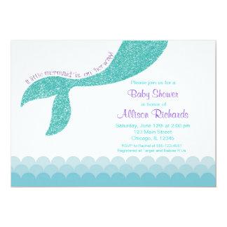 人魚のベビーシャワーの招待、ティール(緑がかった色)の水の紫色 カード