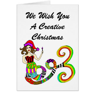 人魚のムーサのクリエイティブのクリスマスを作成して下さい カード