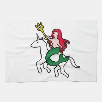 人魚の乗馬の飛んでいるなユニコーン キッチンタオル