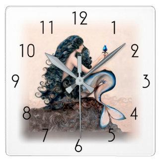 人魚の人魚のファンタジーの神話 スクエア壁時計