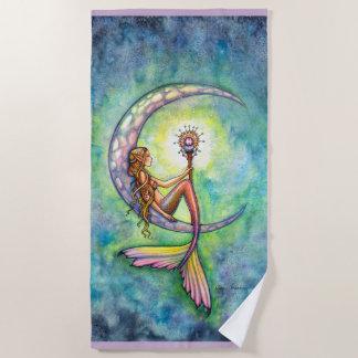 人魚の月のファンタジーの芸術のビーチタオル ビーチタオル