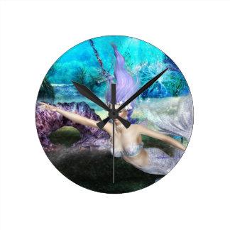 人魚の水泳 ラウンド壁時計