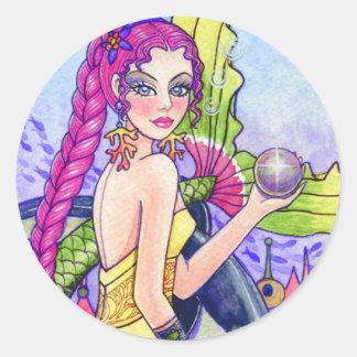人魚の海の妖精のファンタジーのステッカーアンハワード ラウンドシール