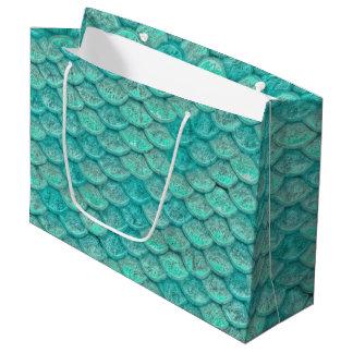 人魚の海緑のスケール ラージペーパーバッグ