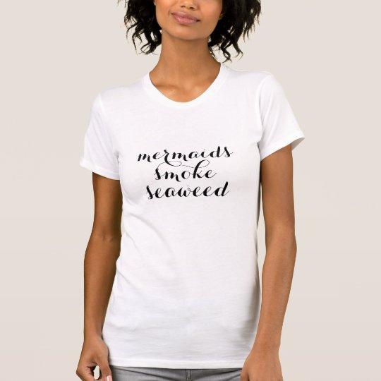 人魚の煙の雑草のポットのおもしろTシャツのデザイン Tシャツ