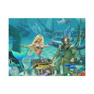 人魚の珊瑚礁の宝物 キャンバスプリント