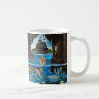 人魚の珊瑚礁の宝物 コーヒーマグカップ