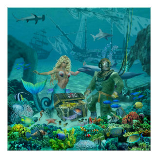 人魚の珊瑚礁の宝物 ポスター